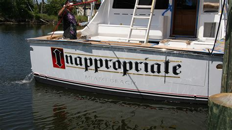 inappropriate miami beach boat transom boats transom - Inappropriate Fishing Boat Names