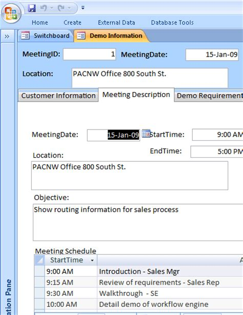 demo management database for access 2007 or newer business