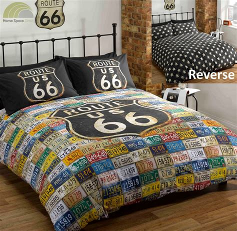 route 66 quilt duvet cover bed set distressed vintage