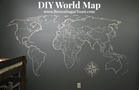 diy world map wall brown sugar toast
