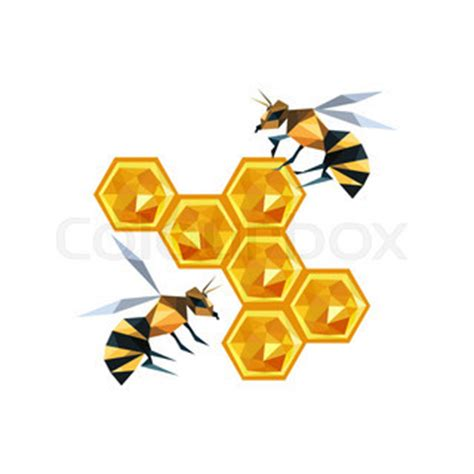 Origami Bee - illustration of origami honeycomb with bees isolated on