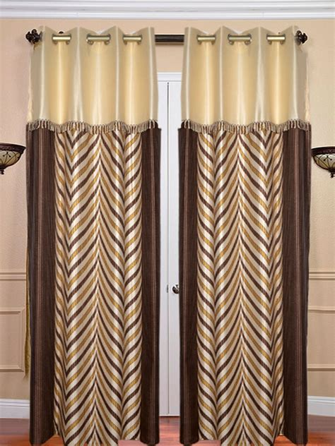 Brown Lace Curtains Buy Set Of 2 Jbg Fancy Lace V Design Door Curtains Brown Jbg365 At Best Price