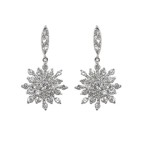 Sign Silver Dangle With Cubic Zirconia P 941 pave snowflake dangle clear cubic zirconia dangle earrings 19mm ebay