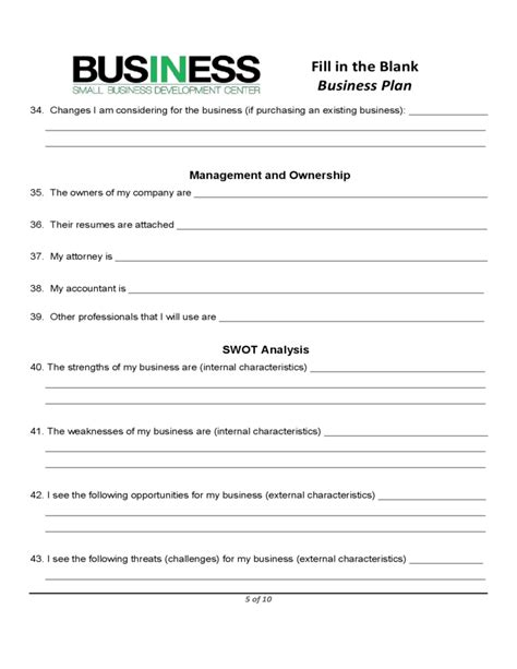 Sba Blank Business Plan Form Free Download Sole Proprietorship Business Plan Template