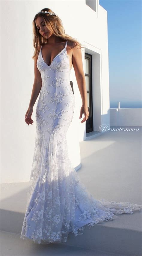 summer beach boho wedding dress  spaghetti straps