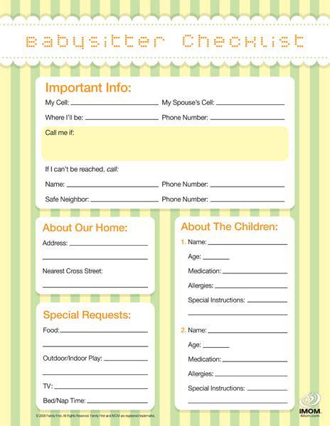 babysitting checklist template newhairstylesformen2014 com