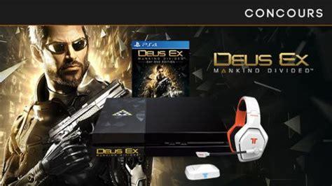 Kaset Ps4 Deus Ex Mankind Divided concours gagnez une ps4 collector deus ex mankind divided le jeu et casque tritton katana hd