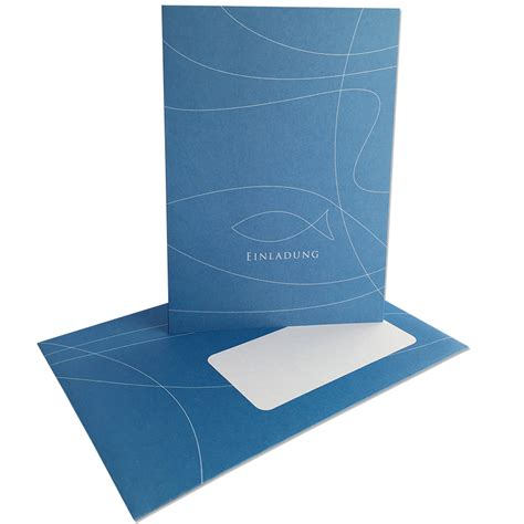 einladungskarten blau kommunion konfirmation mypaperset