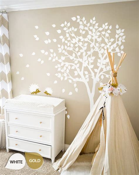 White Tree Wall Decals Nursery Wall Decal Large Kids Room Large Nursery Wall Decals