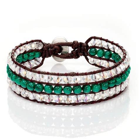 Bracelet Handmade - handmade beaded wrap bracelet 3 rows green agate