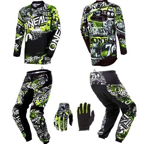 oneal motocross gloves o neal element attack motocross mx gear jersey pants