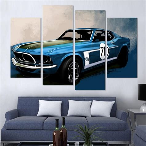 wall decor sports set of 4 canvas art sports room decor 4 pcs blue sports car wall art painting home decoration