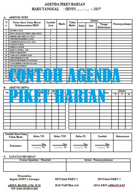 format daftar hadir guru harian format agenda piket harian guru dan siswa di sekolah versi