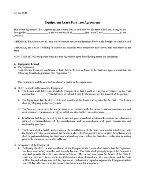 Template For Independent Contractor Agreement equipment lease template 2 legalforms org