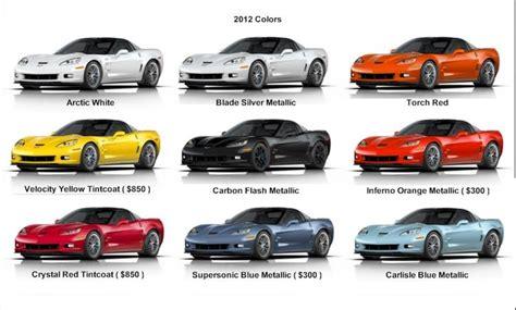 zr1 paint colors 2012 c6 exterior color chart if you don t corvettes