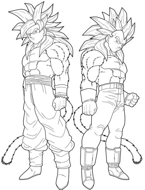 Vegeta And Goku Super Saiyan 4 Coloring Pages Dragon Z Coloring Pages Goku Saiyan 5