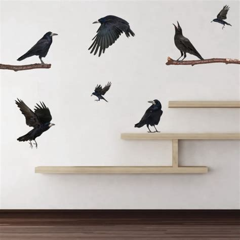 black wall murals black birds wall mural decals wallpaper mural ideas 15502