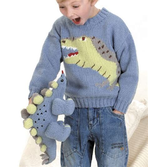 free knit pattern dinosaur sweater autumn winter 2015 trends knits for kids loveknitting blog