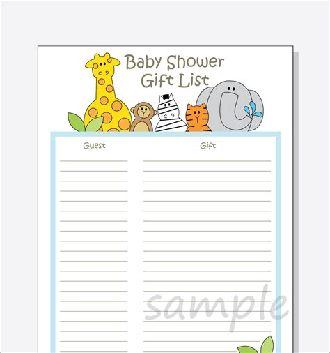 gift list diy baby shower guest gift list printable by