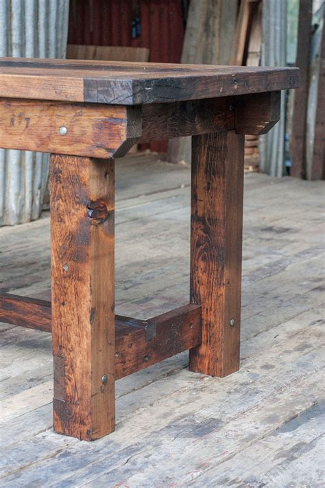 wooden island bench rustic industrial vintage style timber work bench or desk