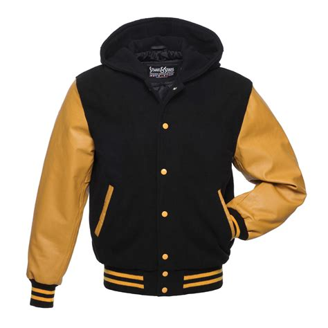 College Varsity Letter Jackets Black Wool And Gold Leather Letterman Jacket H326 Us