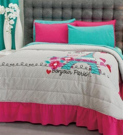 girls paris bedding new teens girls aqua blue pink gray love paris bedspread