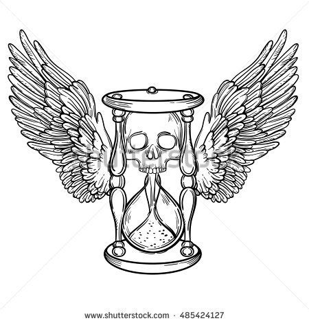 small decorative drawings decorative antique death hourglass illustration wings