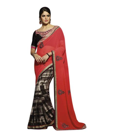 queen s queen s orange pure georgette saree buy queen s orange
