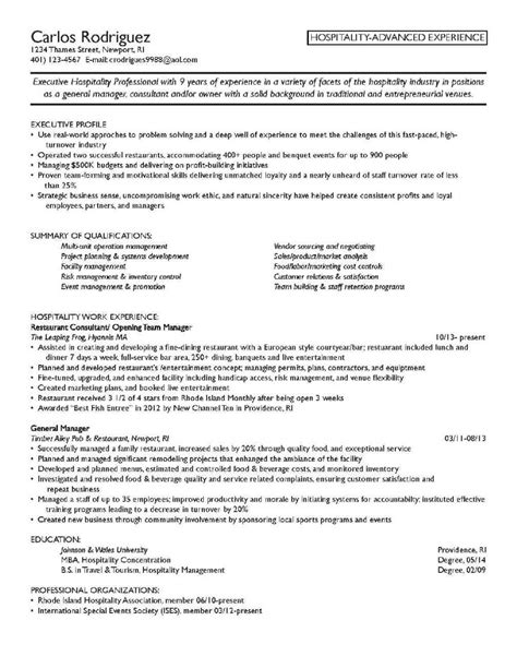 Resume Sles For Hospitality Management hospitality industry resume objective 28 images