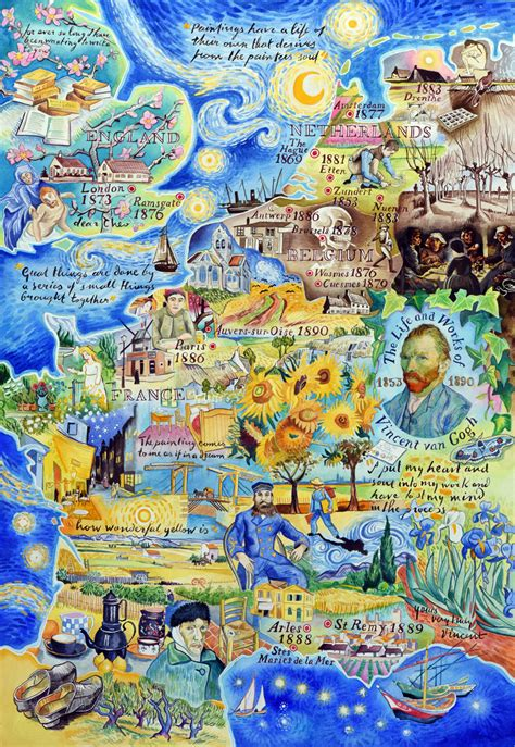 van gogh basic art the life and works of vincent van gogh a painted map