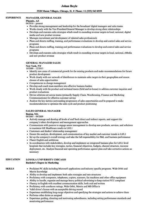 General Manager Resume by General Manager Sales Resume Sles Velvet