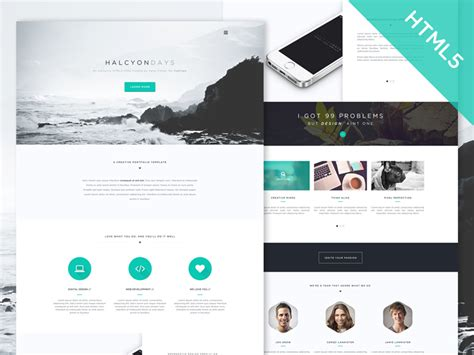 free html5 portfolio template 30 one page website templates built with html5 css3