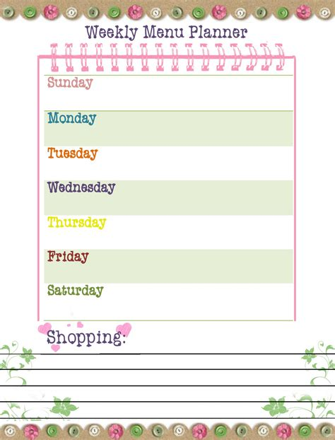 printable menu templates free printable weekly dinner planner template calendar