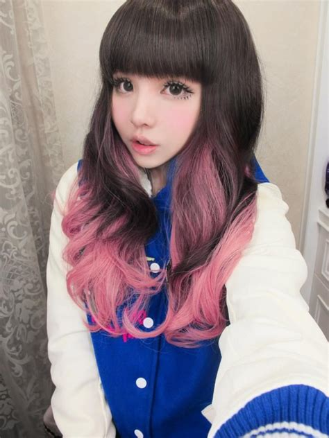 dyed hairstyles for brown hair long curly hair with straight bangs brown color with pink