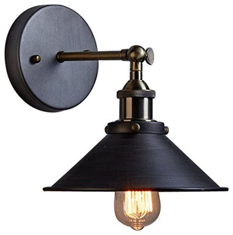 Industrial Wall Sconce Lighting Industrial Edison Simplicity 1 Light Wall Light Sconces Aged Steel Finish Industrial Wall Sconces