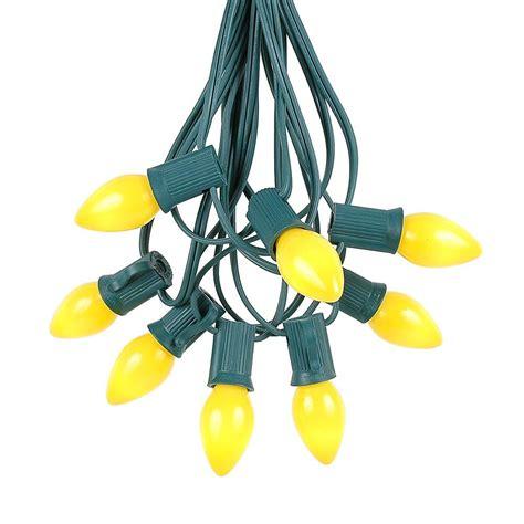 100 Foot C9 Multi Ceramic Lights Set Indoor Outdoor by 100 Vintage Yellow Ceramic C7 Light Set On Green