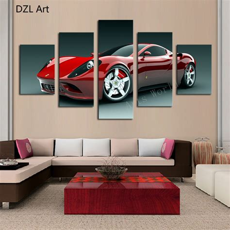 printable car wall art 5 pcs no frame red sports car wall art picture home