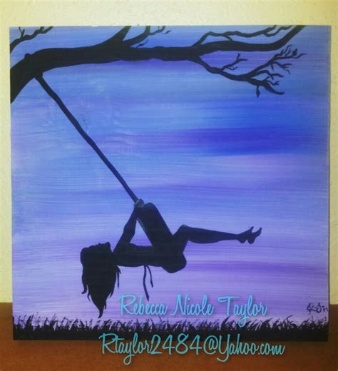 girl on a swing painting quot country night tire swing quot girl swinging acrylic paint