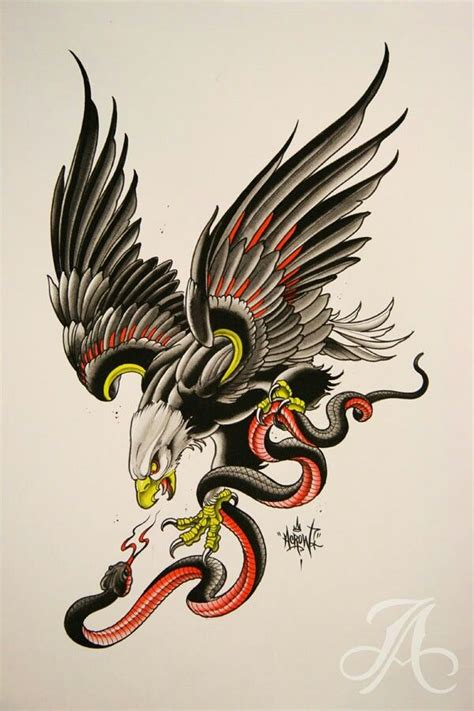 traditional old eagle and snake tattoo design