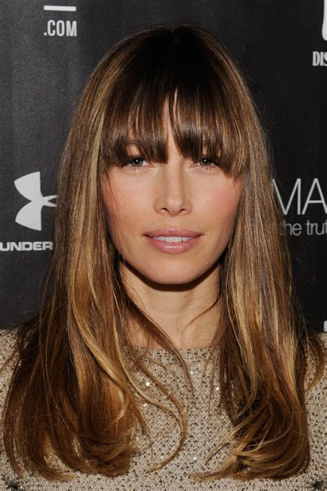 jessica biel hairstyles jessica biel long straight cut with bangs long