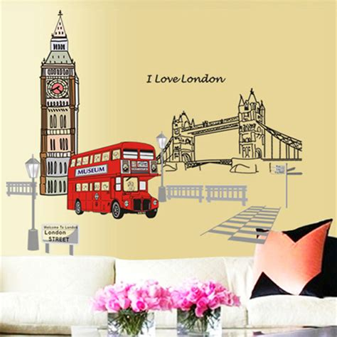 wallpaper dinding london london double decker bus wall stickers removable sticker