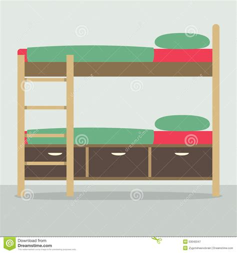 Side By Side Bunk Beds Side View Of Bunk Bed On Floor Stock Vector Image 53045047