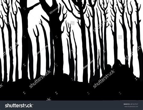 pattern magic italiano vector seamless silhouettes fabulous tree horizontal stock