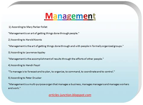 manager description articles junction definition of management