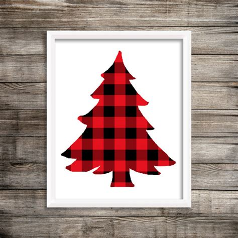 8x10 red buffalo plaid christmas tree printable and instant