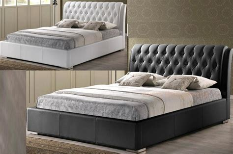 White Or Black Modern Faux Leather Double Full Bed Frame Tufted Bed Frame