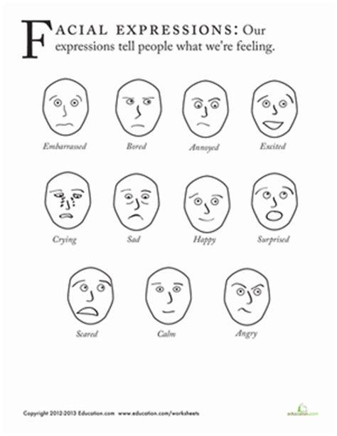 coloring pages emotions facial expressions facial expressions worksheet education com