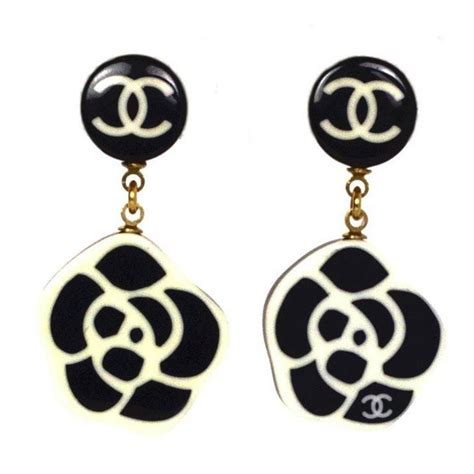 A Black And White Affair At Chanel Jewelry Of Diamonds by Chanel Black White Cc Camelia Clip On Earrings At 1stdibs
