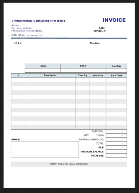 Blank Business Invoice Template free blank invoice template microsoft word car interior