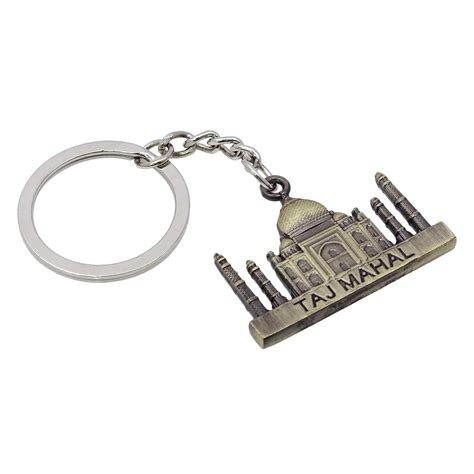 indian keyring taj mahal design ring keychain brass metal